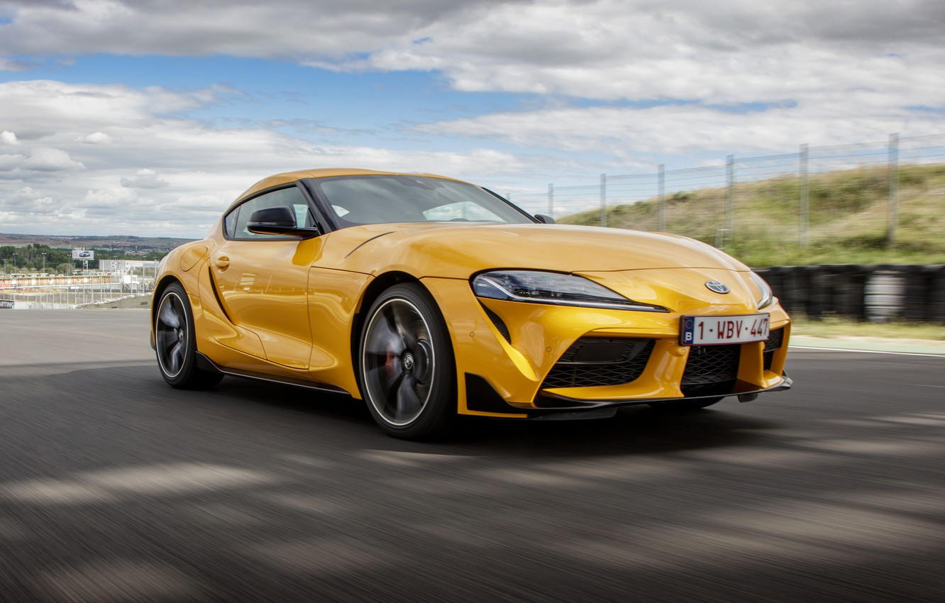 Photo wallpaper clouds, yellow, coupe, Toyota, track, Supra, the fifth generation, mk5, double, 2019, GR Above, A90, …