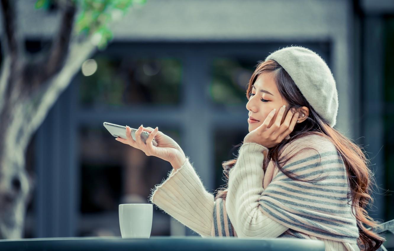 Photo wallpaper girl, Asian, sitting, takes, bokeh, smartphone