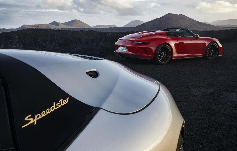Photo wallpaper red, 911, Porsche, Speedster, 991, 2019, gray-silver, humps, 991.2