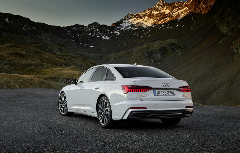 Photo wallpaper white, mountains, Audi, sedan, hybrid, Audi A6, four-door, 2020, A6, A6 Sedan, 55 TFSI and …