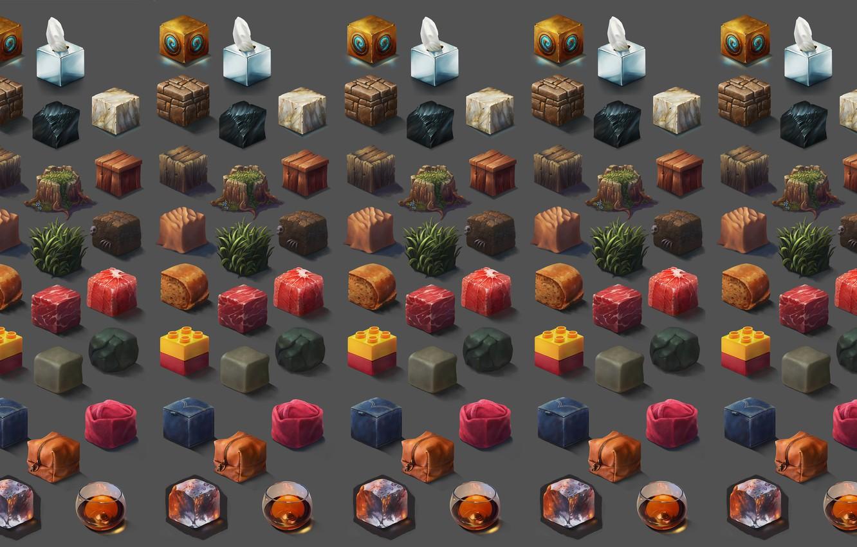 Photo wallpaper cubes, texture, art, Riot Games, Ayhan Aydogan