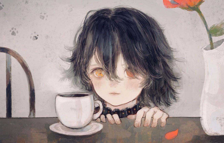 Photo wallpaper flower, girl, Cup