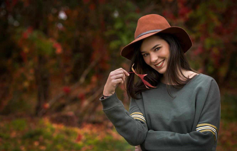 Photo wallpaper smile, Girl, hat