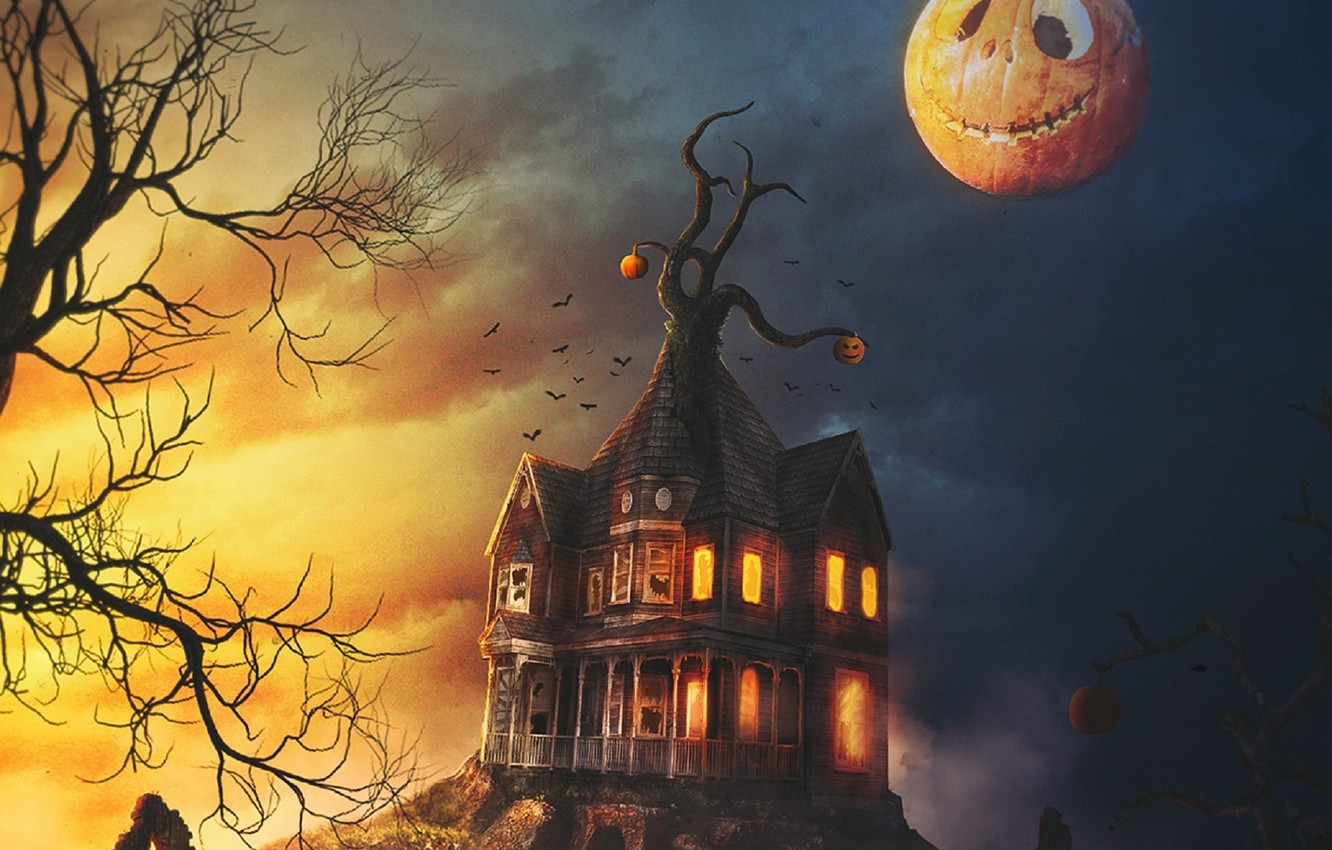 Photo wallpaper Halloween, abandoned house, Jack, pumpkin evil, hell of a grin, dark place, black crows, gnarled …