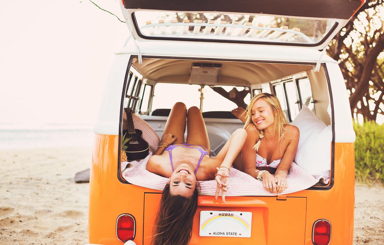 Photo wallpaper Car, Beach, Girls, Summer, Sea, Mood, Rest, Joy