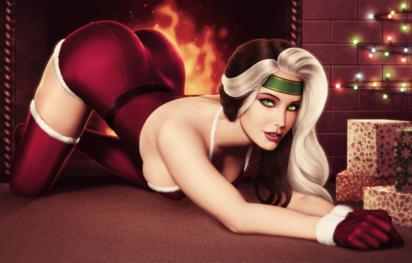 Photo wallpaper ass, chest, look, girl, pose, beauty, gifts, fireplace, ass, X-Men, Marie, happy new year, Rogue, …