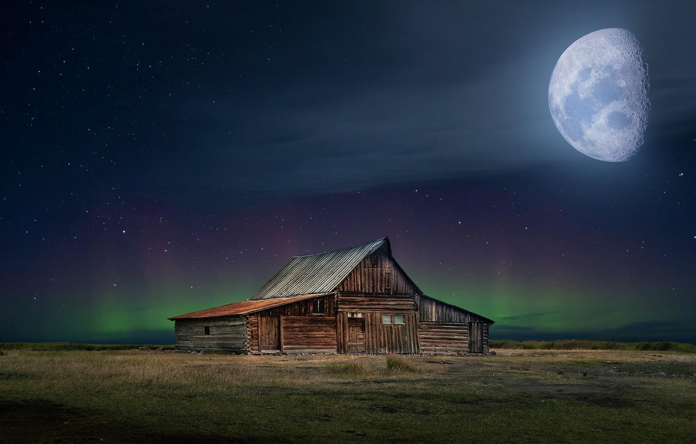 Photo wallpaper field, stars, night, rendering, the moon, Northern lights, house