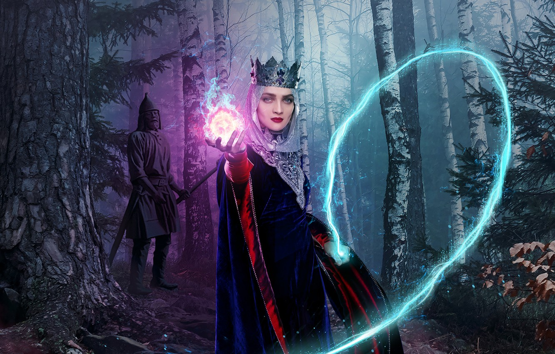 Photo wallpaper forest, look, magic, crown, makeup, statue, Ekaterina Vilkova, The last Bogatyr, the Princess Barbara