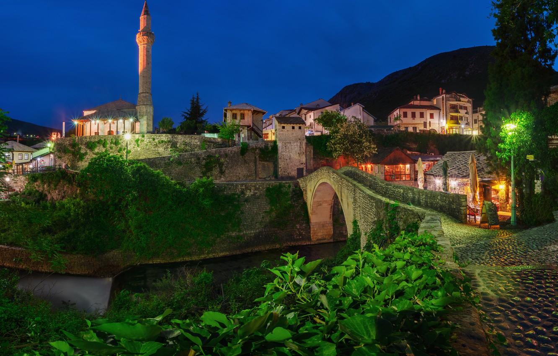 Photo wallpaper landscape, night, bridge, the city, river, vegetation, building, tower, home, lighting, lights, Bosnia and Herzegovina, …