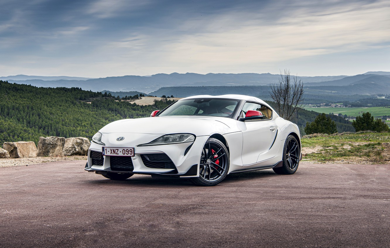 Photo wallpaper white, coupe, Toyota, Supra, the fifth generation, mk5, double, 2020, GR Above, A90, Gazoo Racing, …