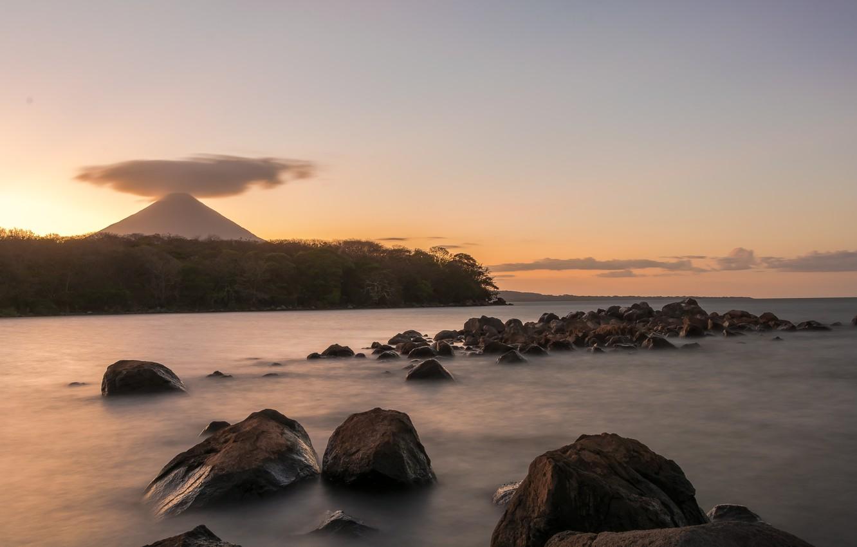 Photo wallpaper water, stones, mountain, the volcano, cloud