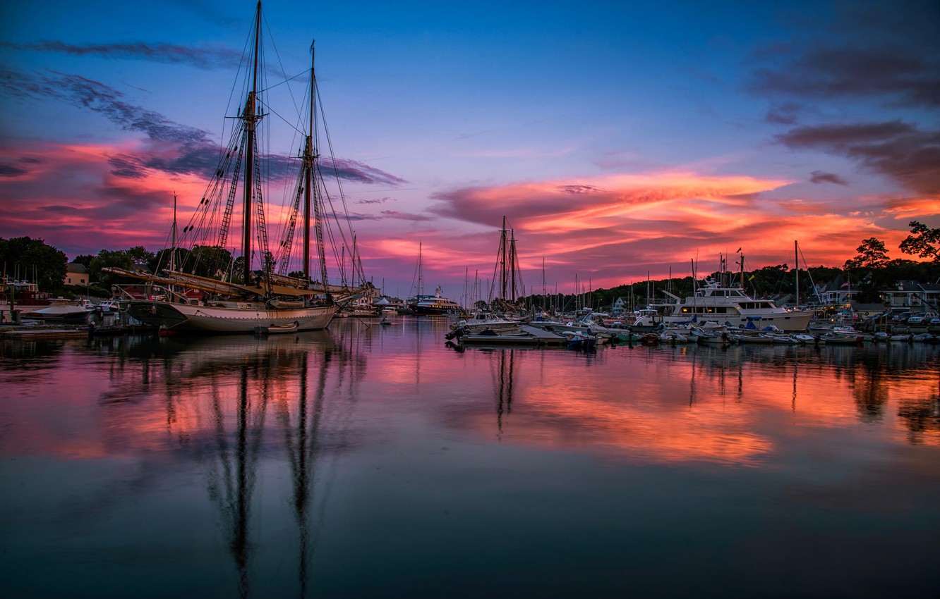 Photo wallpaper sea, sunset, yachts, the evening, boats