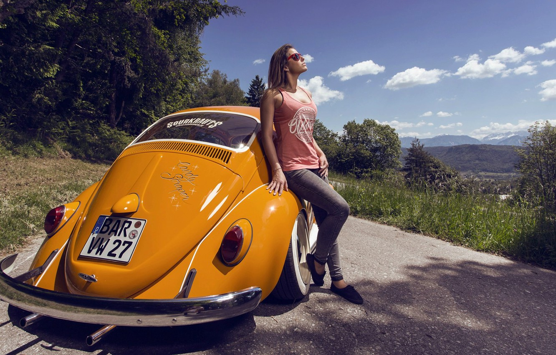 Photo wallpaper Girl, Car, Summer, Road