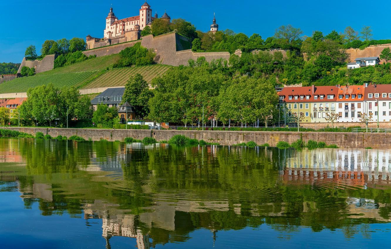 Photo wallpaper trees, reflection, river, building, home, Germany, Bayern, fortress, promenade, Germany, Bavaria, Würzburg, Würzburg, Marienberg Fortress, …