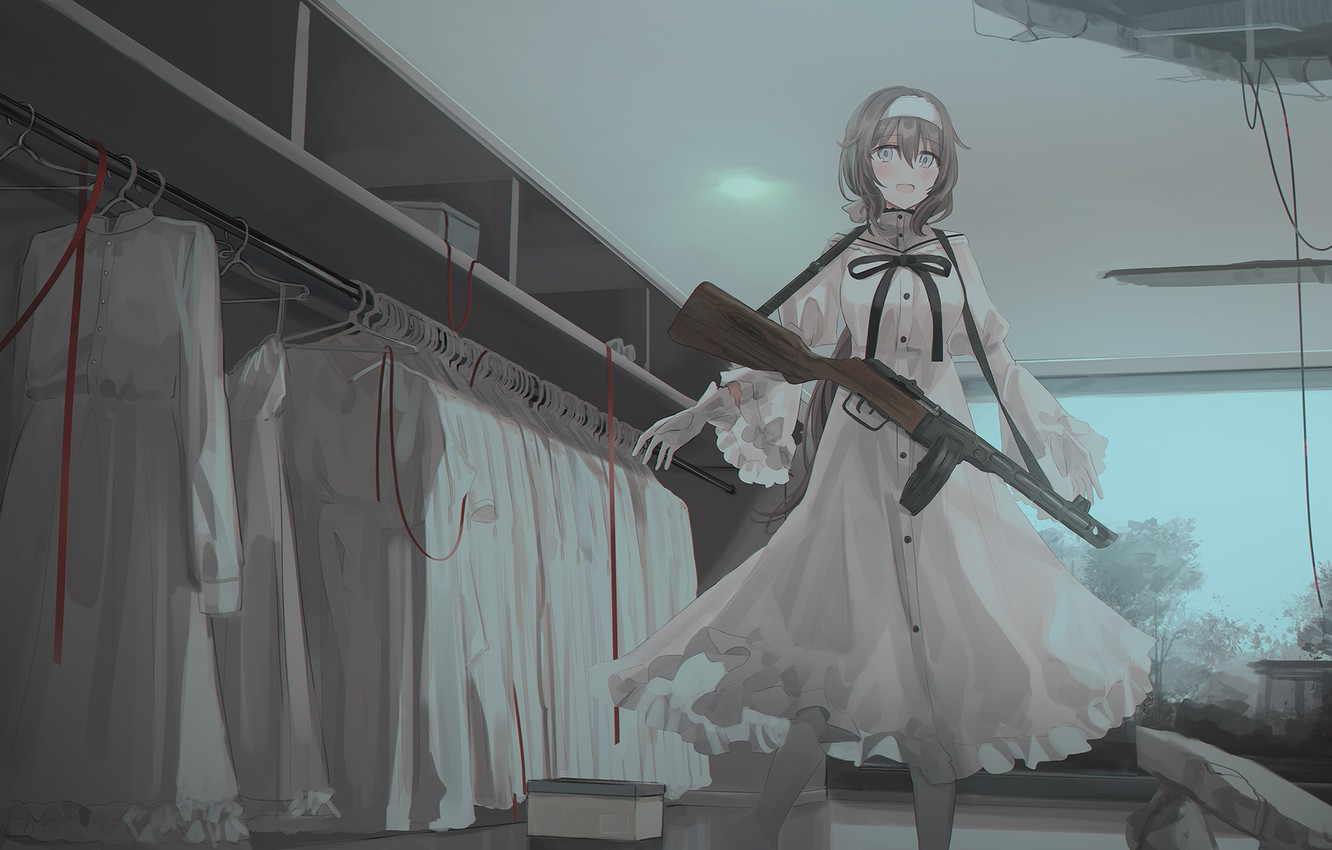 Photo wallpaper girl, weapons, art, machine, closet