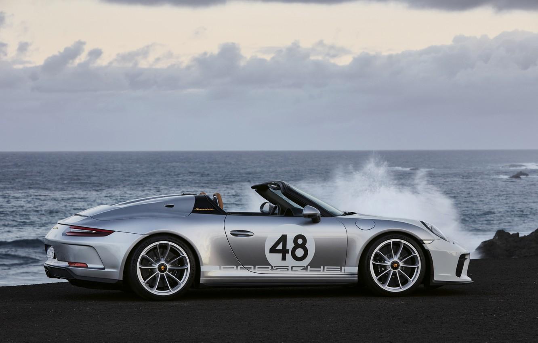Photo wallpaper sea, 911, Porsche, profile, Speedster, 991, 2019, gray-silver, 991.2