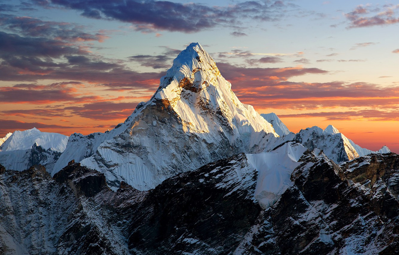 Photo wallpaper sky, landscape, nature, sunset, clouds, mountain, rocks, snow, Everest, Nepal, snowy peaks, far view