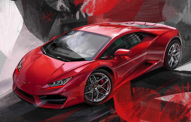 Photo wallpaper Red, Car, Illustration, Supercar, Lamborghini Huracan, Alexander Sidelnikov, red lambo