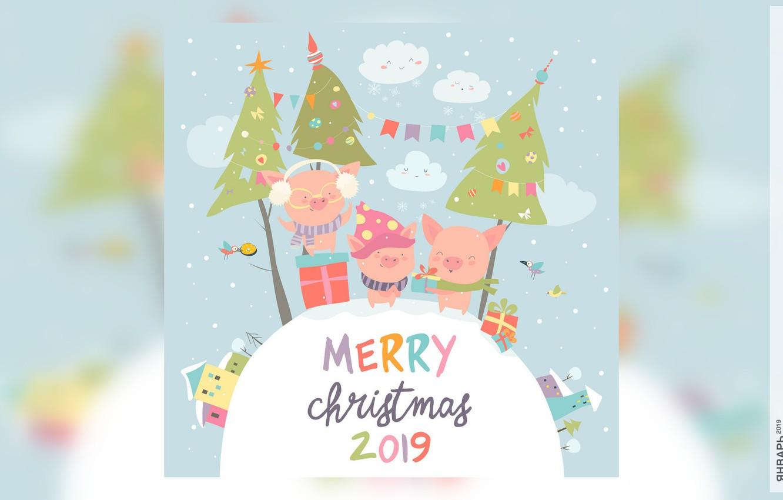 Photo wallpaper house, tree, calendar, pig, 2019