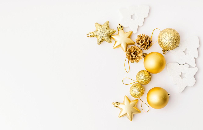 Photo wallpaper balls, holiday, toys, white background, New year, golden, Christmas, decoration, Valeria Maksakova