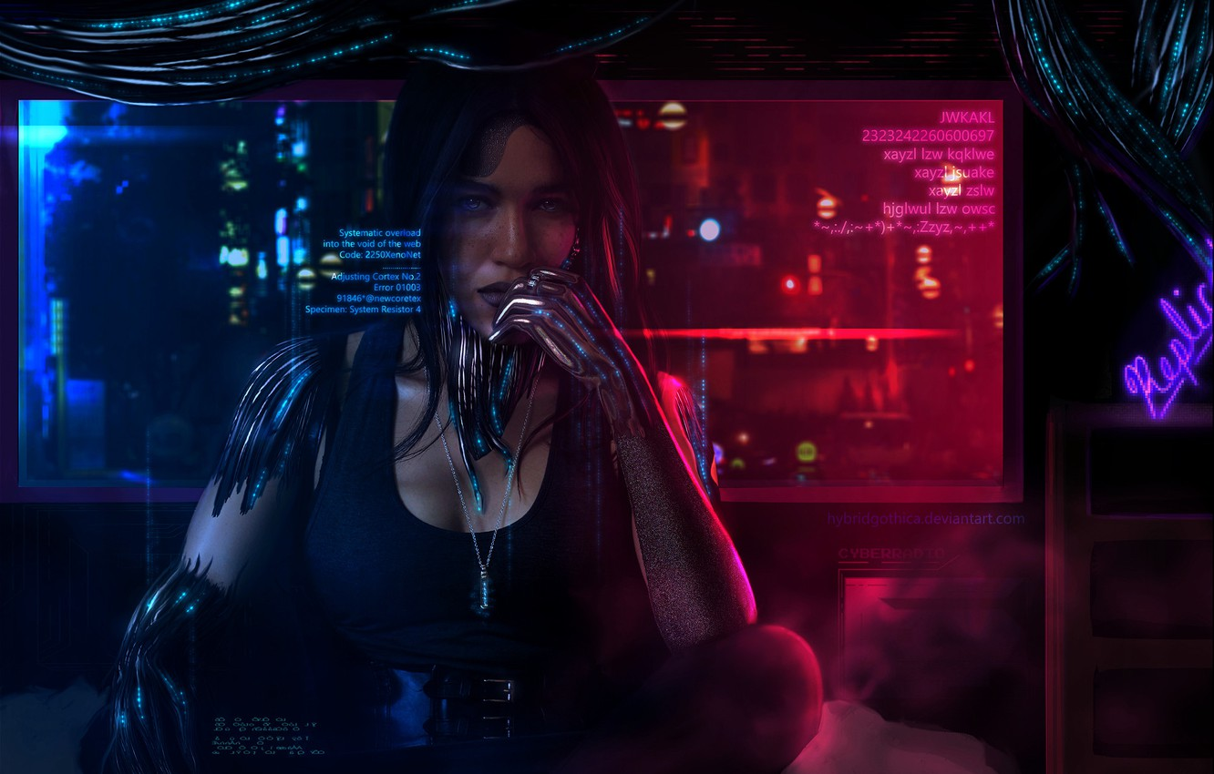 Photo wallpaper Girl, Future, Wire, Girl, Fantasy, Art, Fiction, Cyborg, Science Fiction, Science fiction, Cyberpunk, Tansie Stephens, …