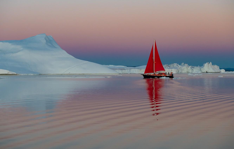 Photo wallpaper water, boat, ship, yacht, ice