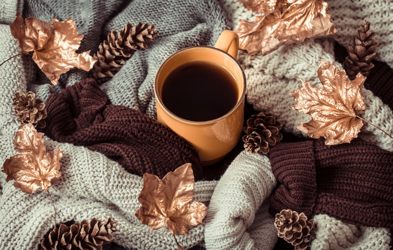 Photo wallpaper autumn, leaves, wool, autumn, leaves, sweater, coffee cup, a Cup of coffee