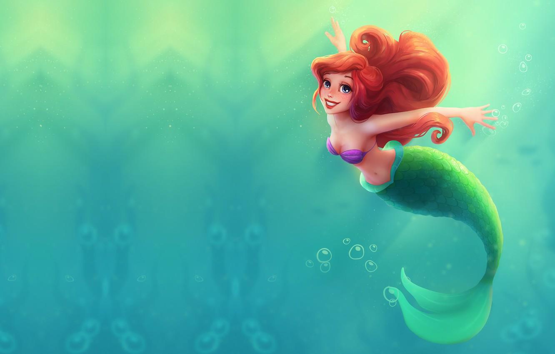 Photo wallpaper sea, water, cartoon, tale, art, Princess, sea, Ariel, Ariel, the little mermaid, Little mermaid, ., …