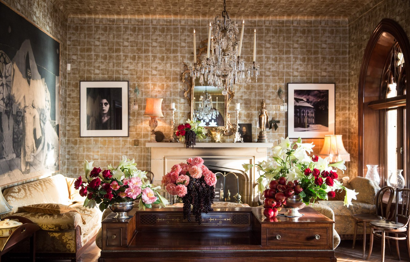 Photo wallpaper flowers, table, lamp, room, interior, chair, window, chandelier, pictures, fireplace, sofas, living room, vases