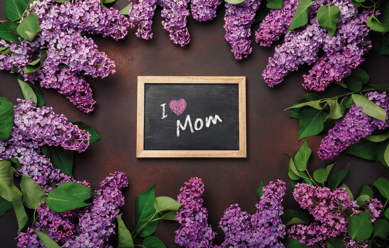 Photo wallpaper flowers, love, wood, flowers, lilac, romantic, letter, spring, purple, lilac, mother's Day