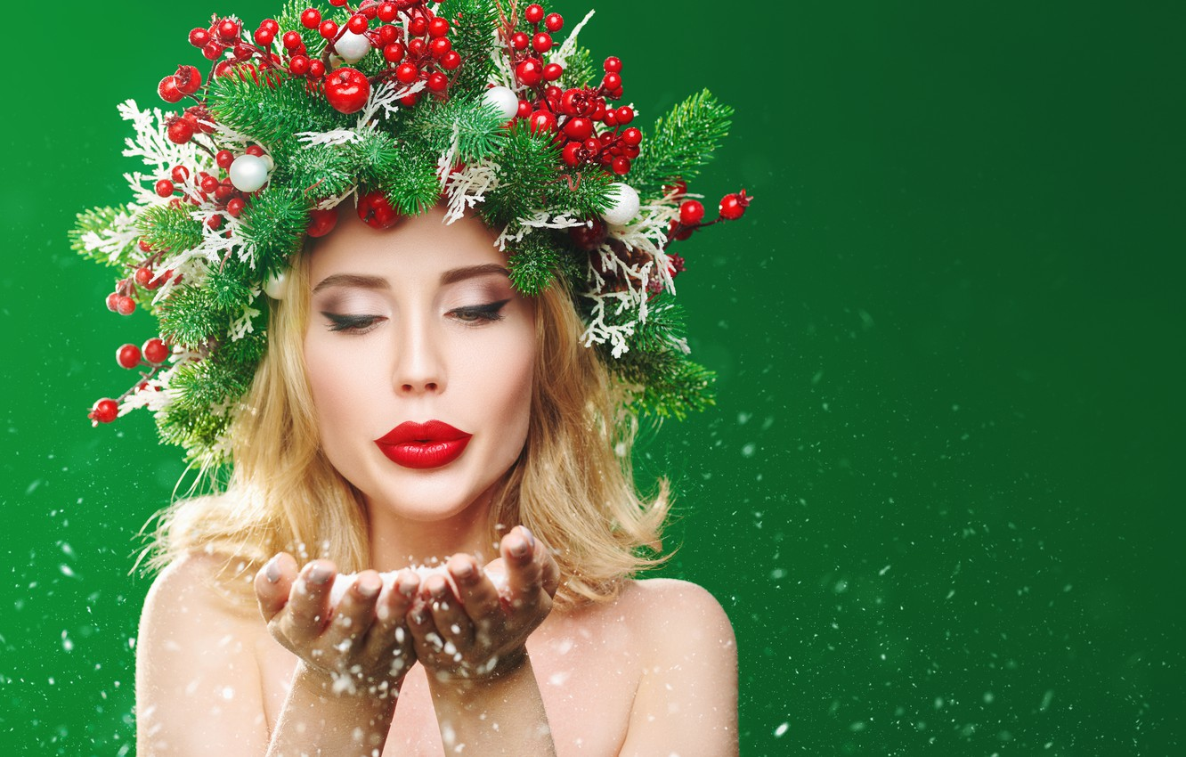 Photo wallpaper girl, snow, branches, berries, creative, Christmas, New year, wreath, palm, green background