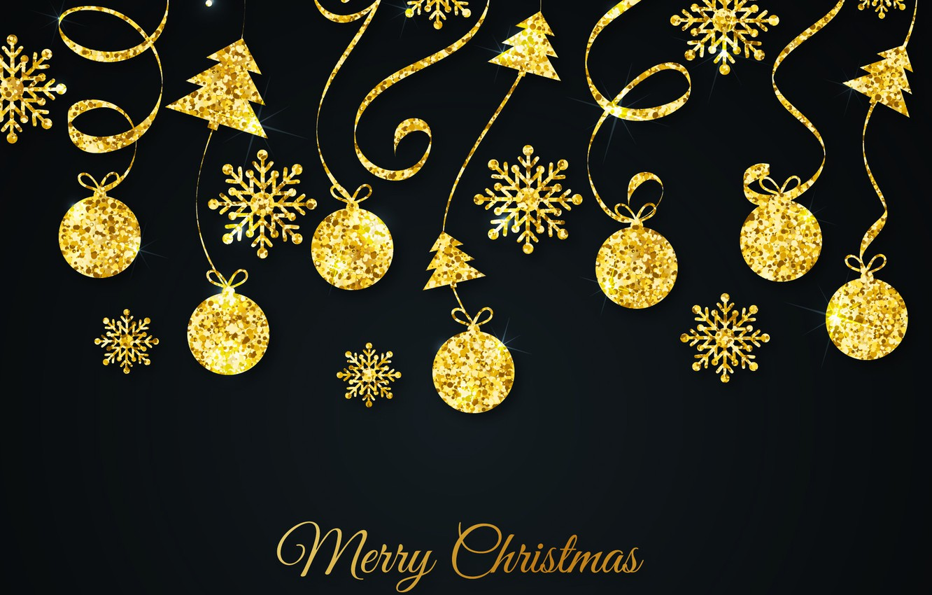 Wallpaper Decoration Gold Pattern New Year Christmas