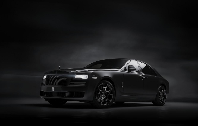 Photo wallpaper background, Rolls-Royce, Ghost, dark, Black Badge, 2019