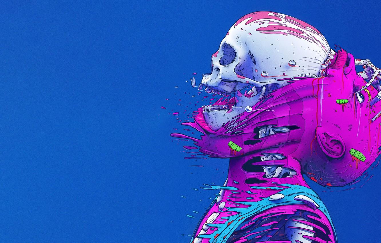 Photo wallpaper Color, Skull, Style, Leather, Bones, Fantasy, Style, Color, Sake, Fiction, Fiction, Skeleton, Illustration, Skin, Sci-Fi, …