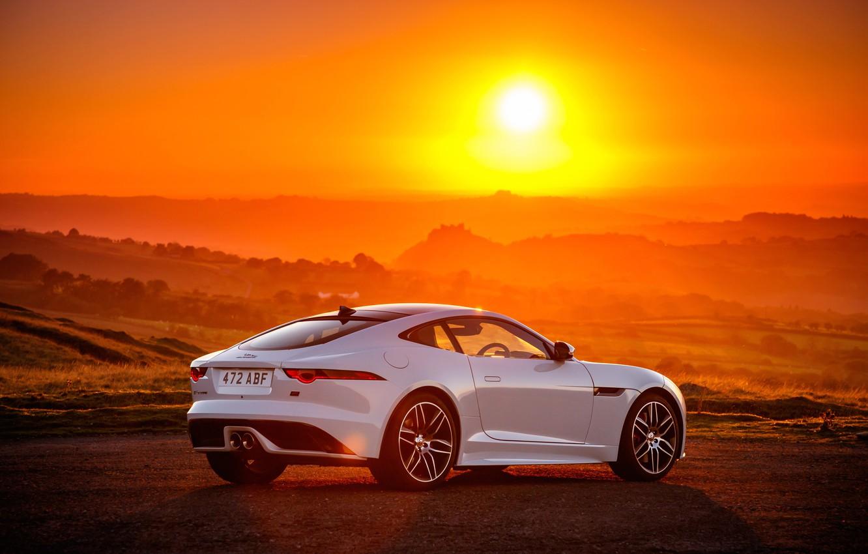 Photo wallpaper sunset, Jaguar, 2018, F-Type, Chequered Flag