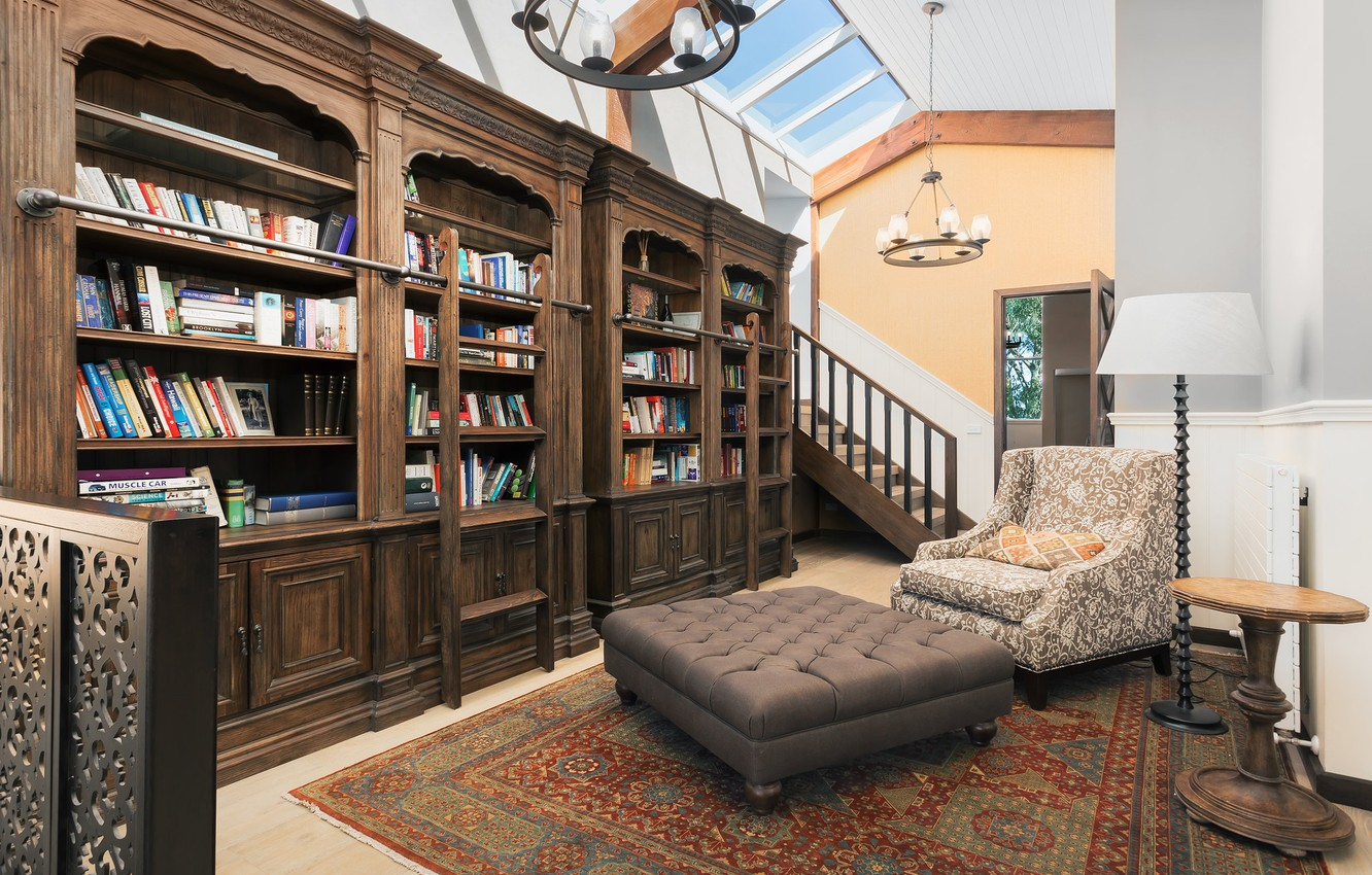 Photo wallpaper books, chair, office, cabinets