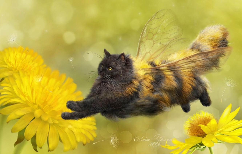 Photo wallpaper cat, flowers, background, art, dandelions, wings, fluffy, cat-bee