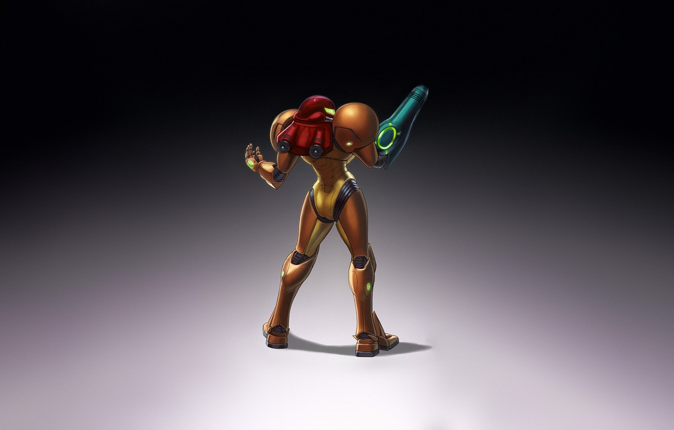 Photo wallpaper Fantasy, Art, Style, Illustration, Minimalism, Samus Aran, Samus, Character, Game Art, Nick Savino