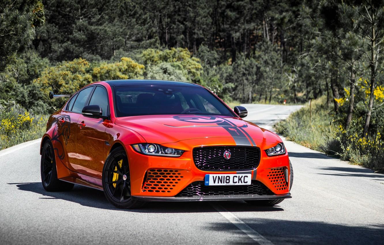 Photo wallpaper orange, Jaguar, 2018, XE SV, Project 8