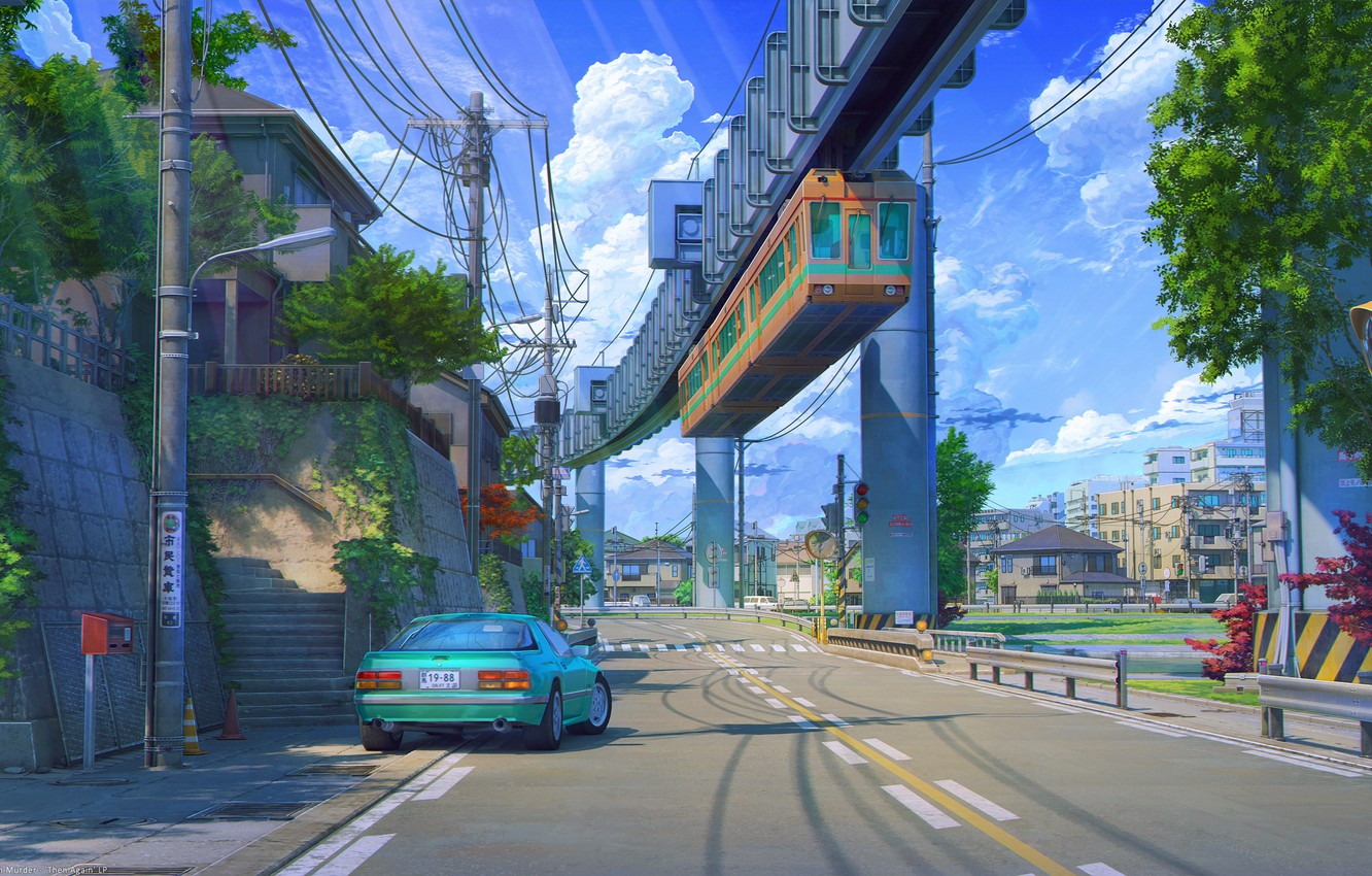 Photo wallpaper auto, markup, posts, wire, Japan, the car, blue sky, ArsenXC, summer day, overpass bridge, the …