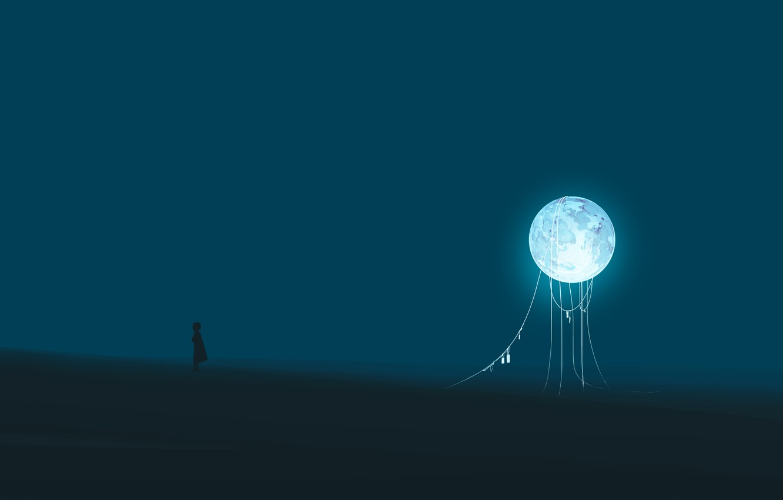 Photo wallpaper night, fiction, the moon, girl