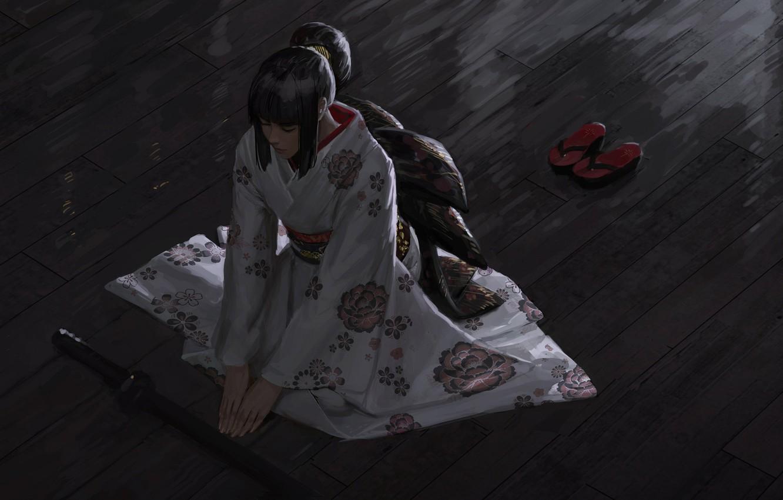 Photo wallpaper Japanese, meditation, kimono, the view from the top, katana, sitting on the floor, closed eyes, …
