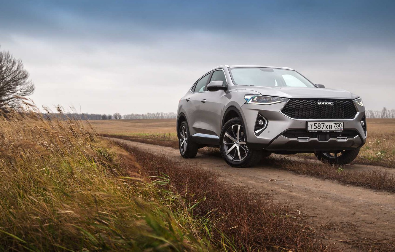 Photo wallpaper road, field, car, machine, the sky, car, front, crossover, Chinese car, gray car, Haval, Haval …