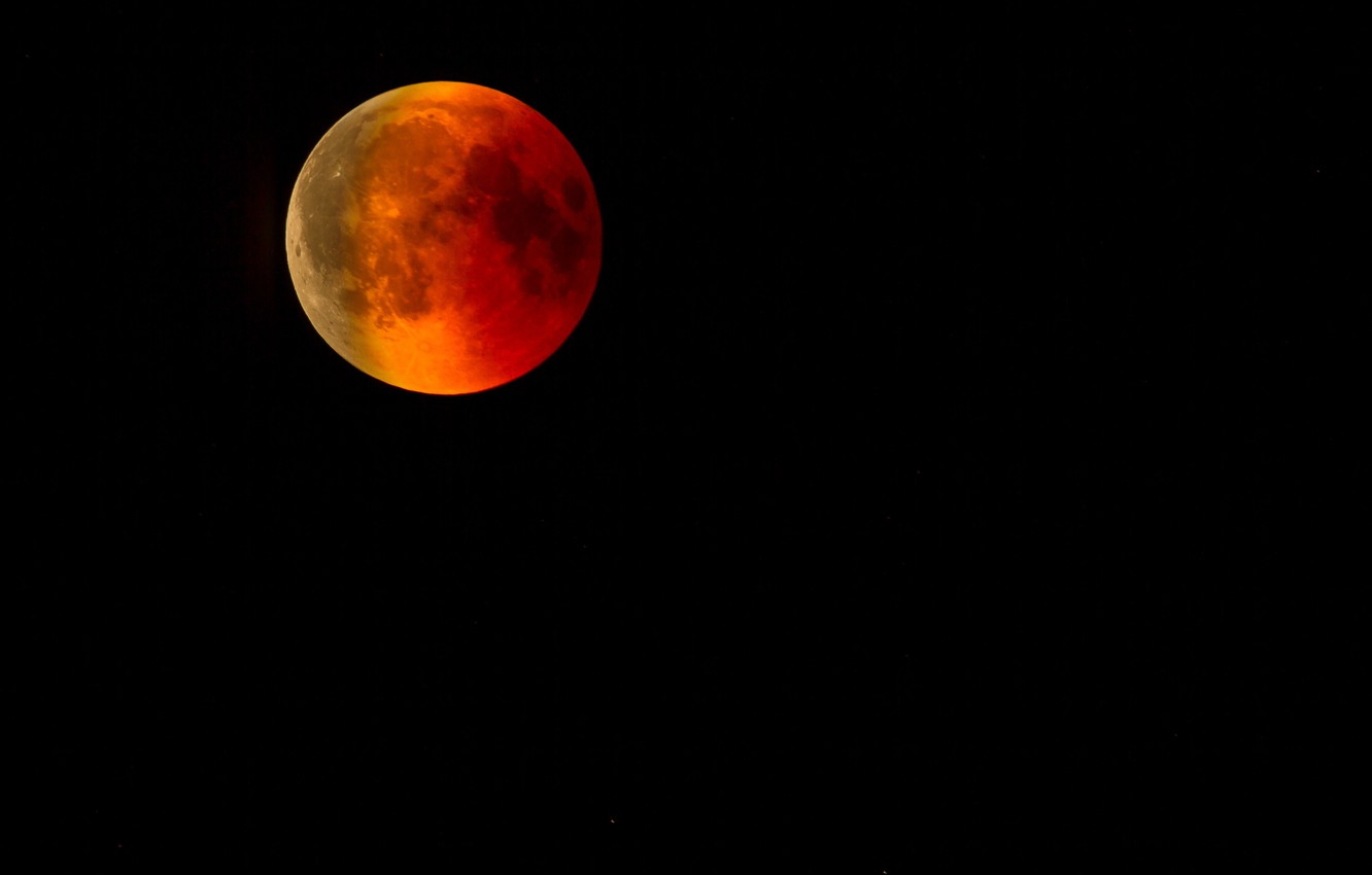 Photo wallpaper the sky, night, the moon, planet, satellite, red, bloody