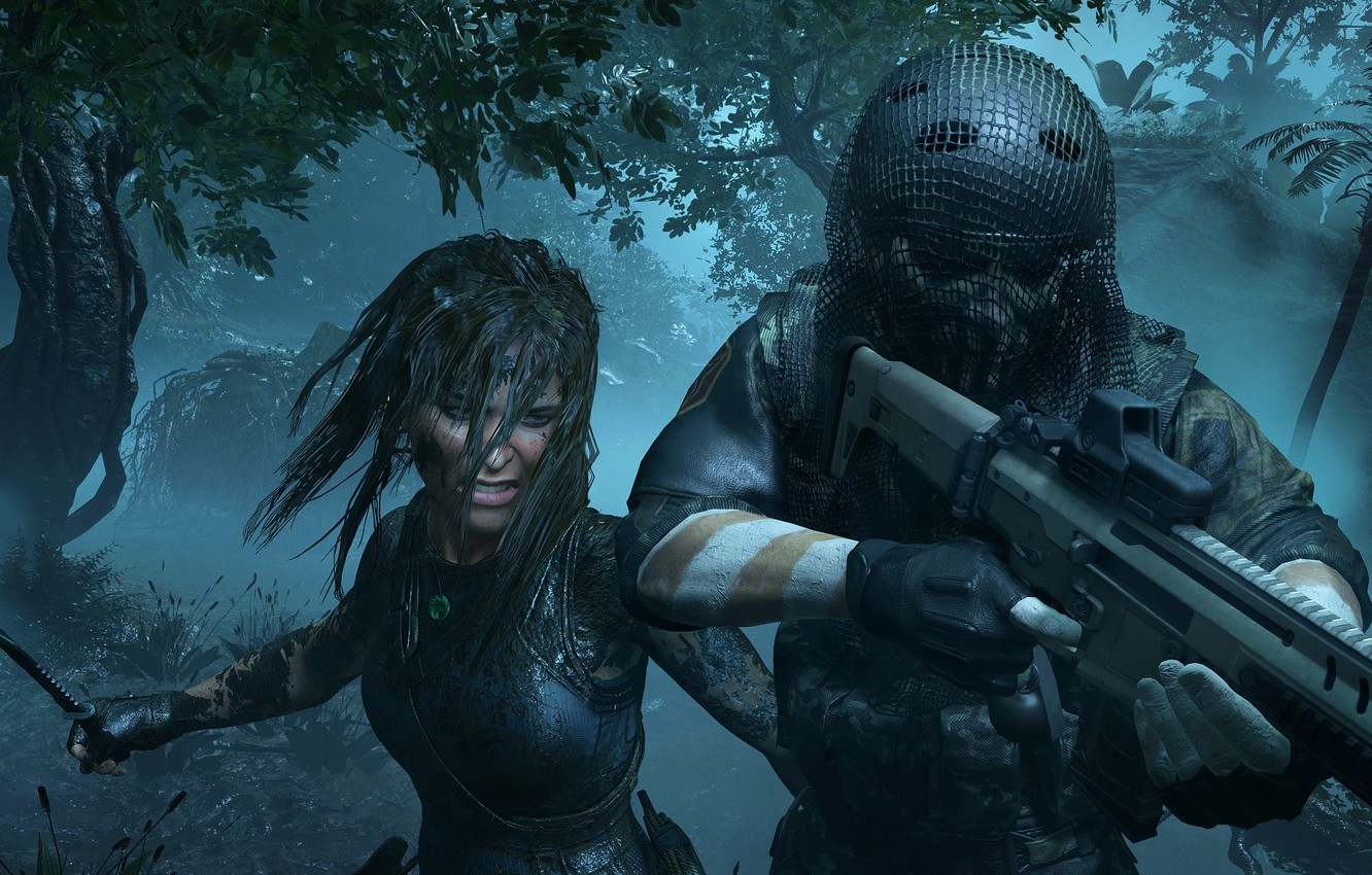 Photo wallpaper Girl, Trees, Knife, Soldiers, Weapons, Jungle, Square Enix, Lara Croft, Eidos Montreal, Shadow of the …