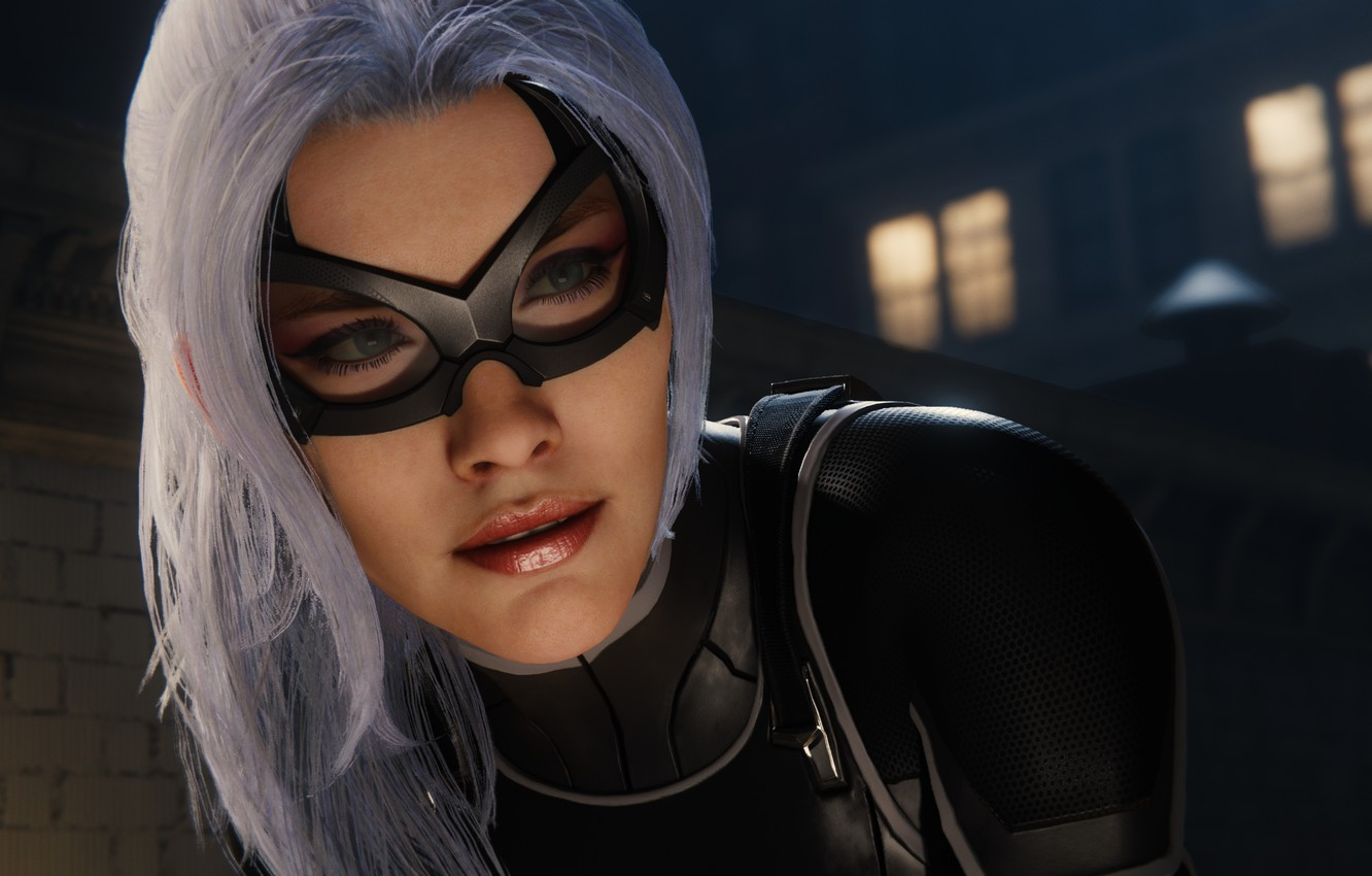 Photo wallpaper Sony, Marvel, mask, Spider-Man, Exclusive, PS4, Black Cat, Felicia Hardy, Insomniac Games