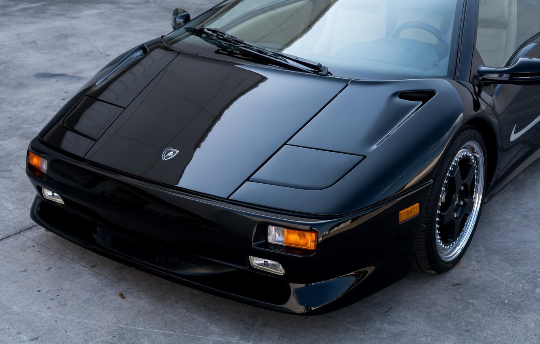 Photo wallpaper Black, Sports car, The front, Super Veloce, 1998 Lamborghini Diablo SV