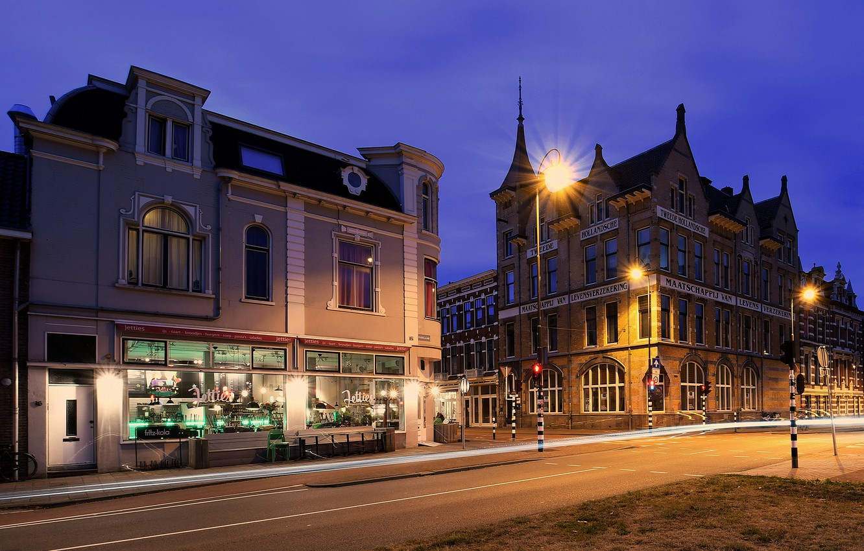 Photo wallpaper street, the evening, lights, Netherlands, Haarlem
