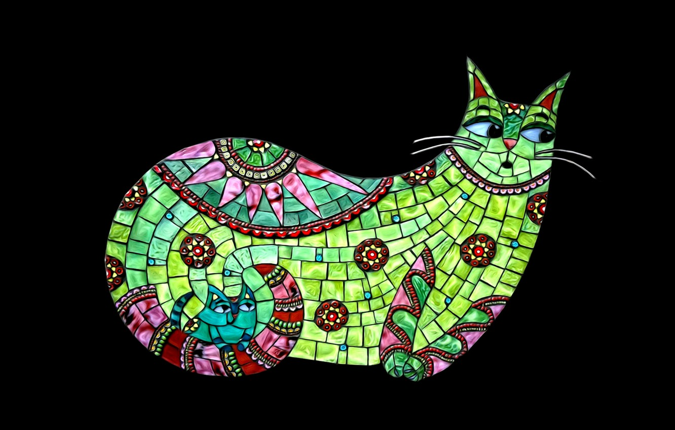 Photo wallpaper abstraction, minimalism, black background, picture, the stained glass pattern, Tiffany style, cat with kitten