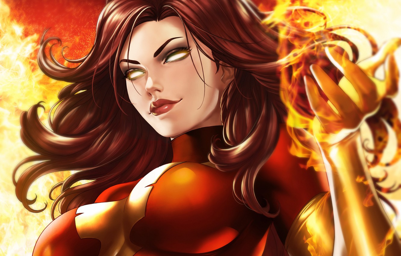 Photo wallpaper girl, fire, fire, mutant, Marvel, Jean Grey, Jean Grey, mutant, by Dandonfuga, dark Phoenix, dark ...